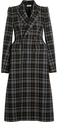 Balenciaga - Double-breasted Plaid Wool Coat - Gray $3,750 thestylecure.com