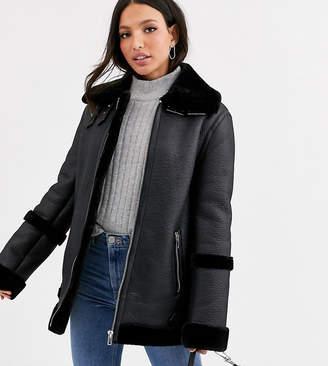 Asos Tall DESIGN Tall bonded aviator coat in black