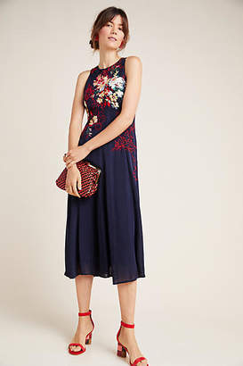 Anthropologie Tanzine Embroidered Midi Dress