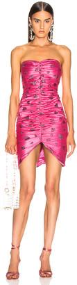 Rodarte Glitter Heart Strapless Ruched Dress in Flamingo   FWRD