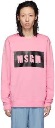 MSGM PInk Box Logo Sweatshirt
