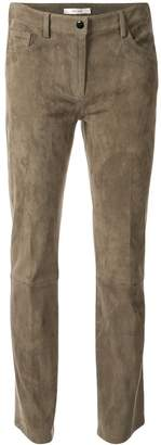 The Row suede cropped trousers