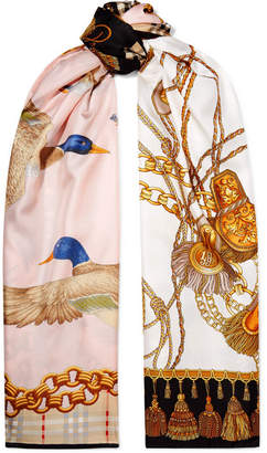 Burberry Printed Silk-twill Scarf - Pink