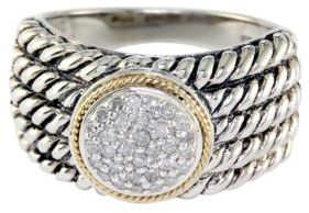 EFFY Balissima Sterling Silver with 18Kt. Yellow Gold Pave Circle Diamond Ring