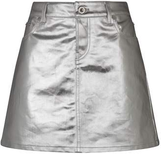 Paco Rabanne Metallic Coated Denim Skirt