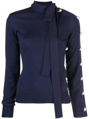Monse Open Shoulder Sweater with Necktie