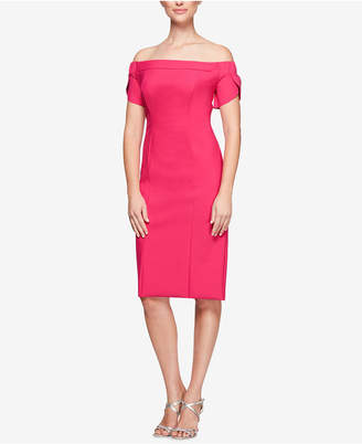 Alex Evenings Off-The-Shoulder Sheath Dress