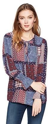 Ella Moon Women's Sabina Long Blouson Smocked Sleeve Keyhole Tie Neck Top