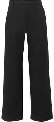 Tome Cotton-blend Faille Wide-leg Pants - Black