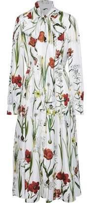 Oscar de la Renta Pussy-bow Belted Floral-print Silk-twill Midi Dress