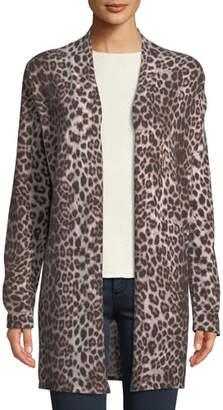 Neiman Marcus Leopard-Print Cashmere Duster Cardigan