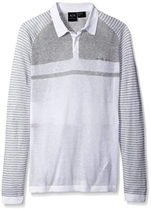 Armani Exchange A|X Men's Linen Cotton Stripe Long Sleeve Polo