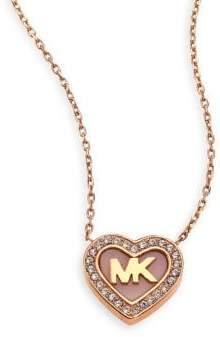 Michael Kors Logo Heart Pave Pendant Necklace