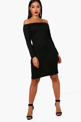 boohoo Georgina Bardot Rib Knit Dress