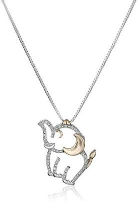 Diamond elephant necklace shopstyle at amazon sterling silver and 14k rose gold diamond elephant pendant necklace aloadofball Choice Image