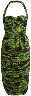Norma Kamali Palm-print ruched dress