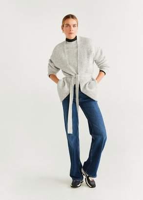 MANGO Chunky knit cardigan burgundy - XS - Women