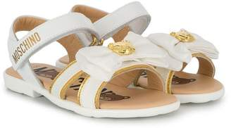 Moschino Kids bow touch strap sandals