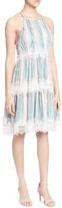 Catherine Malandrino Sidonie Striped Lace-Trim Dress