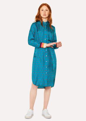 Paul Smith Women's Turquoise 'Daisy Polka' Print Silk Shirt Dress