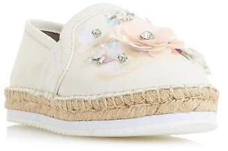 Dune Ladies GLORIOUS Sequin Embellished Espadrille Shoe in White Size UK 3