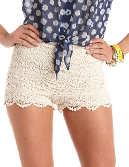 Charlotte Russe High Waisted Scalloped Lace Short