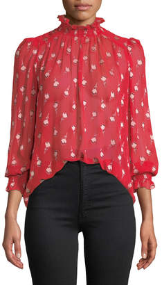 BA&SH Malawi High-Neck Floral Long-Sleeve Top