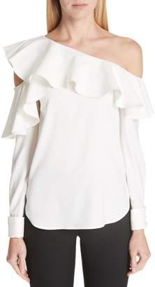 Oscar de la Renta One-Shoulder Stretch Silk Blouse