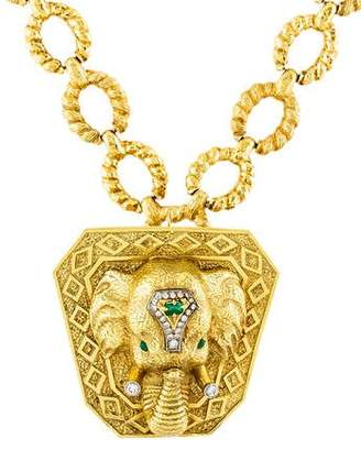 La Triomphe 18K Emerald & Diamond Elephant Convertible Necklace