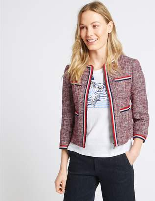 Marks and Spencer Cotton Rich Contrast Trim Textured Blazer