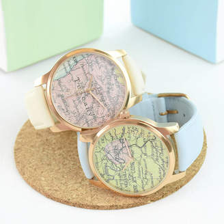 World map watch shopstyle uk at notonthehighstreet ellie ellie personalised map watch rose gold gumiabroncs Images