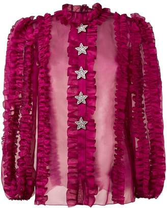 Dolce & Gabbana crystal star ruffled blouse
