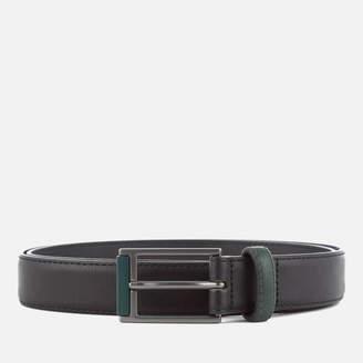 Ben Sherman Men's Bonded Leather Tipped Belt - Black/Green