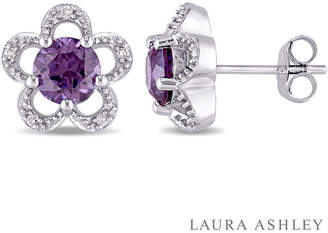 Laura Ashley FINE JEWELRY Diamond Accent Lab Created Purple Alexandrite 10K Gold 11mm Stud Earrings