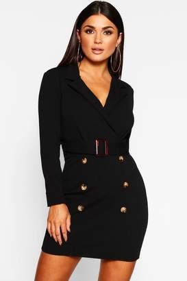 boohoo Button Front Belted Blazer Bodycon Dress