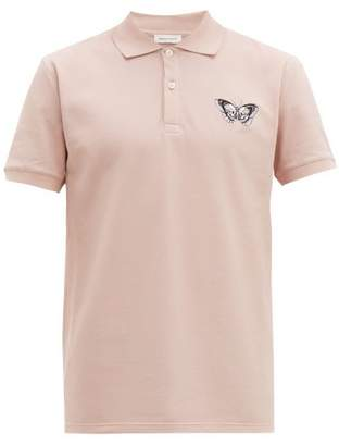 Alexander McQueen Butterfly Embroidered Cotton Pique Polo Shirt - Mens - Pink