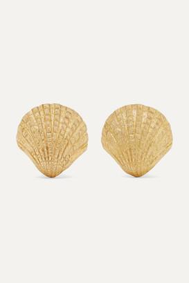 Pippa Small Net Sustain Scallop 18-karat Gold Earrings