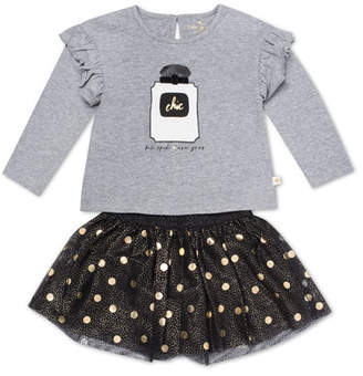 Kate Spade Chic Ruffle-Trim Top W/ Metallic Polka-Dot Skirt, Size 12-24 Months