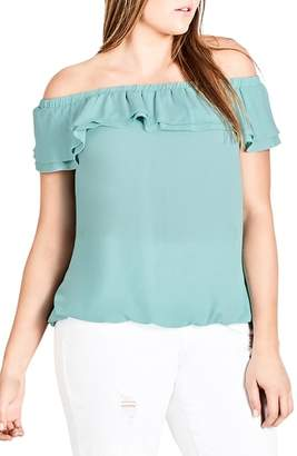 City Chic Cascade Off the Shoulder Ruffle Top