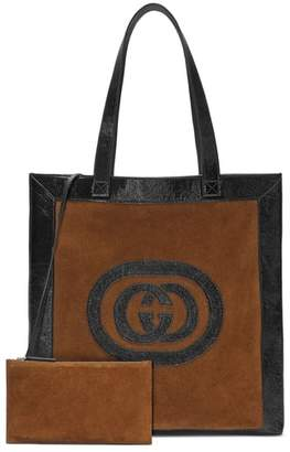 Gucci Large GG Calfskin Suede Tote with Zip Pouch