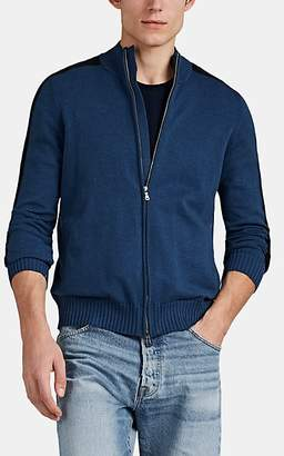 Fioroni Men's Mixed-Knit Cotton Jacket - Blue