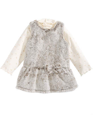 First Impressions Baby Girls 2-Pc. Faux-Fur Jumper & Printed Top Set, Created for Macy's