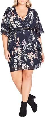 City Chic Hothouse Flower Faux Wrap Chiffon Dress