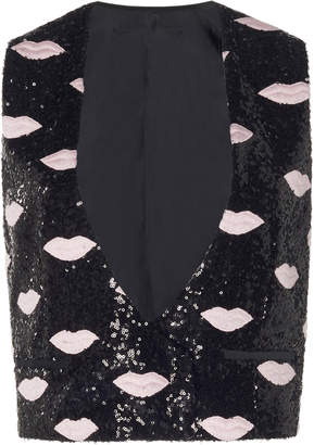 Giambattista Valli Sequin Lip Print Vest