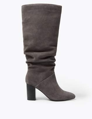 Marks and Spencer Slouch Block Heel Almond Toe Knee Boots