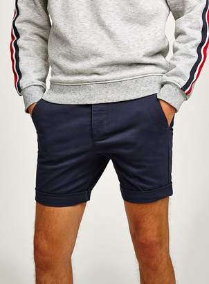 Topman Navy Stretch Skinny Chino Shorts