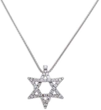 Damiani 18K White Gold Diamond Star of David Pendant Chain Necklace