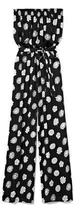 Vince Camuto Flower-stamped Strapless Jumpsuit