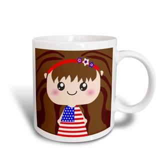DAY Birger et Mikkelsen 3dRose Cute Kawaii Cartoon Patriotic Girl wearing American Flag Dress for July 4th Independence Day, Ceramic Mug, 15-ounce