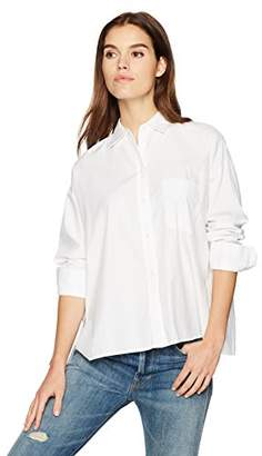 Vince Women's Single Pocket Long Sleeve Shirt,M